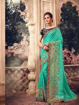 Traditional waer handloom Silk embroidery work Saree With Contrast Blouse & Embellished Border- feroji colour