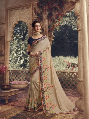 Traditional waer handloom Silk embroidery work Saree With Contrast Blouse & Embellished Border- beige colour