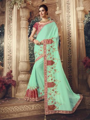 Traditional waer dola Silk embroidery work Saree With Contrast Blouse & Embellished Border- sea green colour