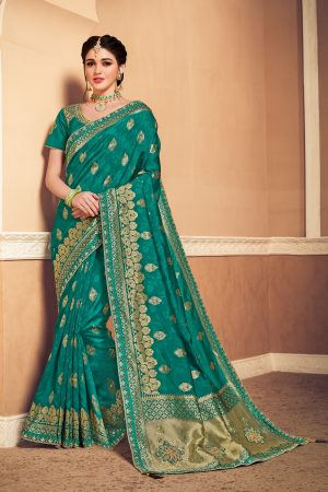 Banarasi silk heavy jaqcard work green colour designer saree