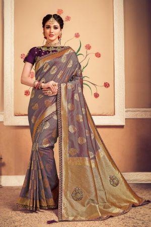Banarasi silk jaqcard work heavy purple colour designer saree