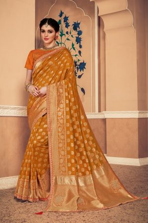 Banarasi silk jaqcard work heavy musterd colour designer saree