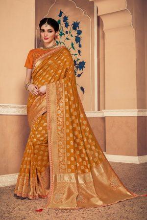 Banarasi silk jaqcard work heavy musterd colour designer saree
