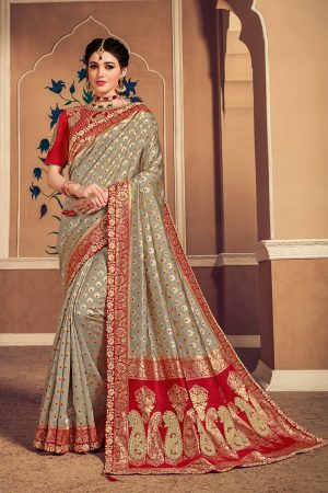 Banarasi silk jaqcard work heavy light olive green & red colour designer saree