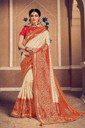 Banarasi silk jaqcard work heavy beige & red colour designer saree
