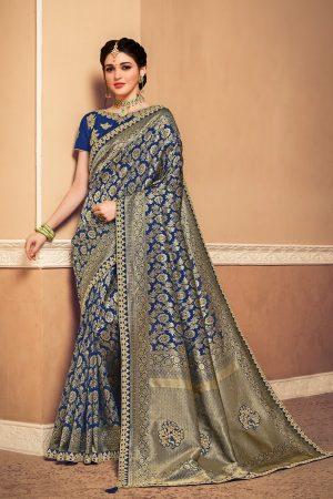 Banarasi silk jaqcard work heavy blue & olive colour designer saree