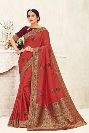 poly silk jaqcard work heavy maroon colour designer saree