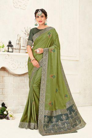 poly silk jaqcard work heavy green colour designer saree