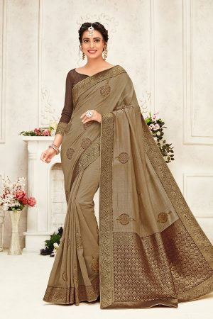 poly silk jaqcard work heavy brown colour designer saree