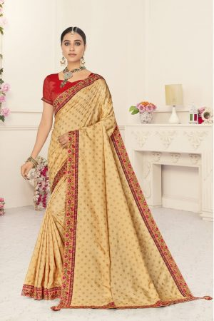 poly silk jaqcard work heavy beige colour designer saree