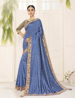poly silk jaqcard work heavy blue colour designer saree