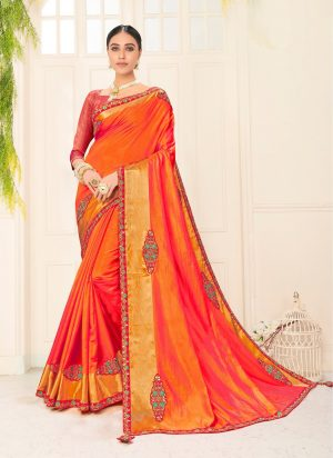 poly silk jaqcard work heavy orange colour designer saree