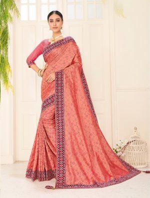 poly silk jaqcard work heavy peach colour designer saree