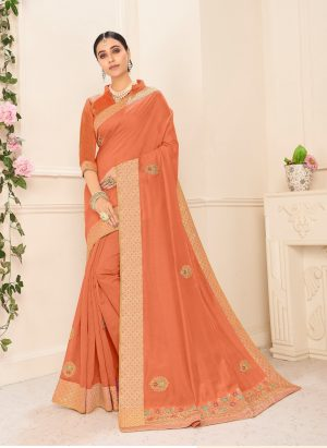 poly silk jaqcard work heavy orange colour designer saree