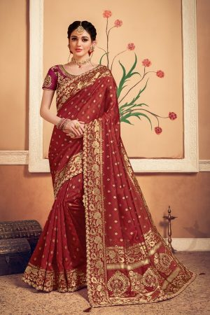 Banarasi silk heavy jaqcard work red colour designer saree
