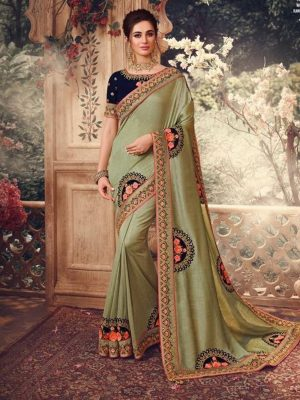 Traditional waer dola Silk embroidery work Saree With Contrast raw silk Blouse & Embellished Border- olive & navy colour