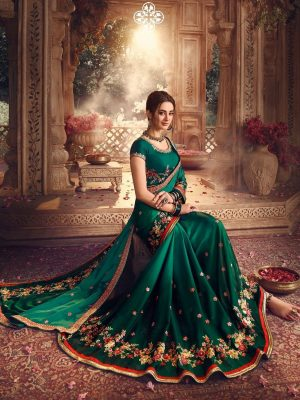 Traditional waer georgette Silk embroidery work Saree With Contrast Blouse & Embellished Border- rama green colour