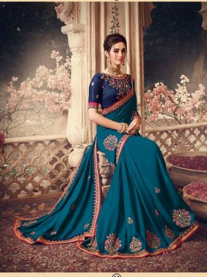 Traditional waer handloom Silk embroidery work Saree With Contrast Blouse & Embellished Border- peacock blue colour