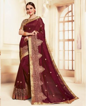 poly silk embroidery work heavy maroon colour designer traditional wear saree