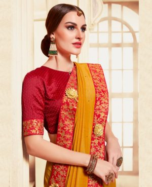 poly silk embroidery work heavy musterd yellow colour designer traditional wear saree
