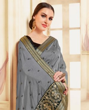 poly silk embroidery work heavy grey colour designer traditional wear saree