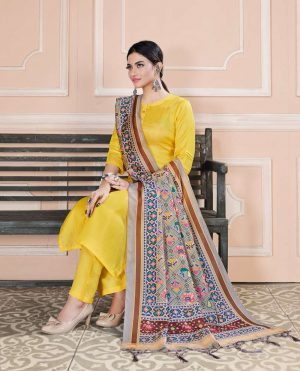 Readymade Pant Style suit Tusser silk fabrics with fency patola print dupatta- yellow colour
