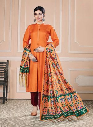 Best Readymade Fancy Suit Online for Party Wear – Pant Style Salwar Suit- Tussar Silk Fabric