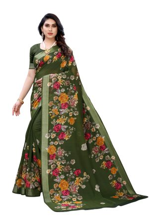 Linen Green Silver Border Printed Saree With Running Blouse.