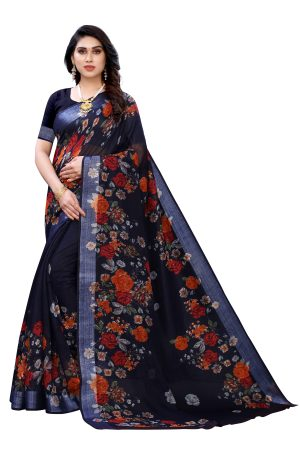Linen Navy Blue Silver Border Printed Saree With Running Blouse.
