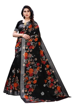 Linen Black Silver Border Printed Saree With Running Blouse.