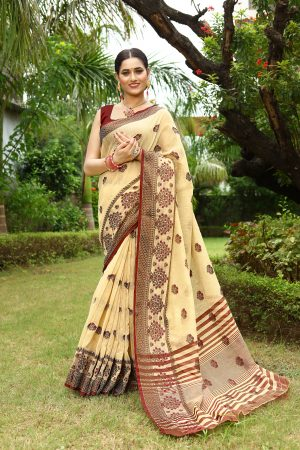 Creame Heavy Embroidery Linen Saree With Blouse.