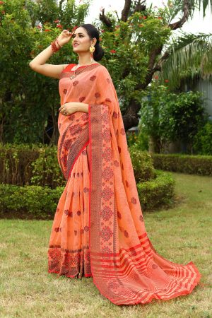 Orange Heavy Embroidery Linen Saree With Blouse.