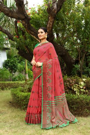 Pink Heavy Embroidery Linen Saree With Blouse.