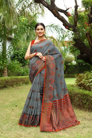 Dark Grey Heavy Embroidery Linen Saree With Blouse.