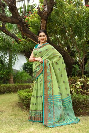 Green Heavy Embroidery Linen Saree With Blouse.